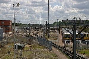 Hornsey EMU depot and former steam locomotive shed - EMU maintenance building (left) and sidings. (2009)