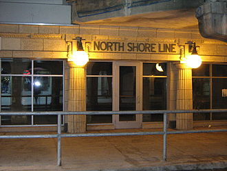 Howard station - The former North Shore Line entrance on the north side of Howard Street has been preserved and restored to use, now as an auxiliary exit