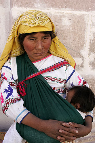 Huichol people - Photo of Huichol woman and child.