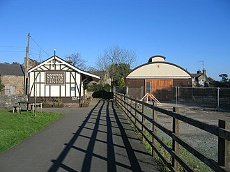 Hulme End - Hulme End station (left) is now a visitor centre. On the right is the rebuilt former engine shed; built to resemble the original, a small part of the original framework exists inside.