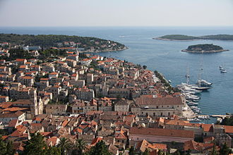 Hvar (city) - A view of the city of Hvar from the Castle