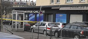 Hypercacher - The Hypercacher superette at Porte de Vincennes after the terrorist attack on 9 January 2015