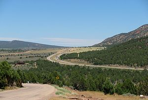 Interstate 15 in Utah - I-15 near New Harmony, south of Cedar City, looking north