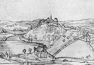 Bad Iburg - Castle and monastery Iburg before 1752, painting of Renier Roidkin