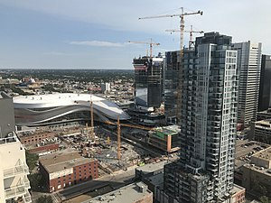 Rogers Place - Ice District construction around Rogers Place in July 2017
