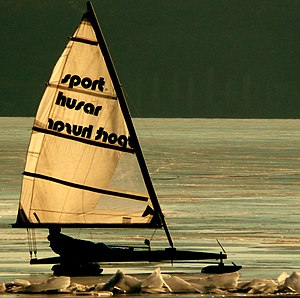 Ice boat - A DN iceboat on lake Balaton, Hungary