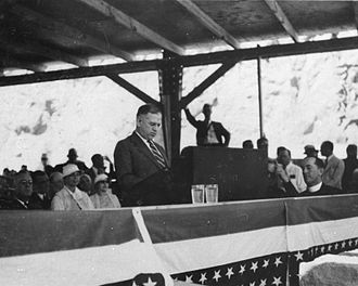 Harold L. Ickes - Secretary Ickes addresses the crowd gathered at the dedication of Hoover Dam (then Boulder Dam)