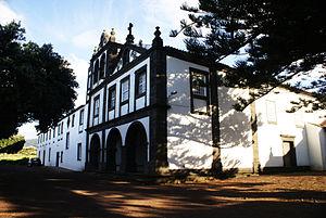 São Roque do Pico - The front facade of the Convent and Church of São Pedro de Alcântara, overlooking the central part of the parish of São Roque