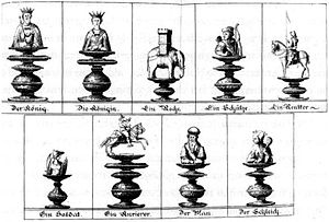 "Chess piece - Illustration of chess pieces used in Courier chess by Gustav Selenus from the book ""Das Schach-Oder Königs-Spiel"" (1616). Depicted are the king, queen, rook, archer (or bishop), knight, pawn (or soldier), courier, man (or rath or sage), and jester."