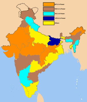 Multi-party system - Indian state governments led by various political parties and coalitions