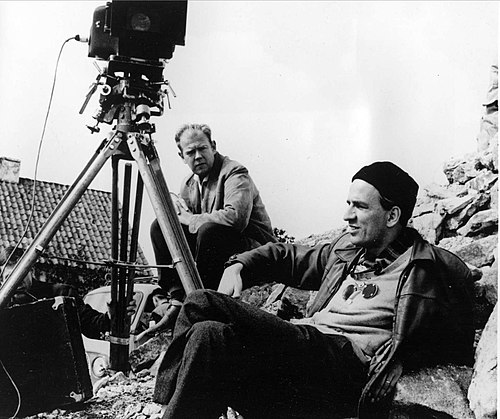 Cinematographer Sven Nykvist and director Ingmar Bergman shoot Through a Glass Darkly. Ingmar Bergman & Sven Nykvist.jpg
