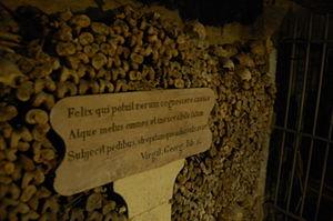 Felix, qui potuit rerum cognoscere causas - The verse on display in the Catacombs of Paris