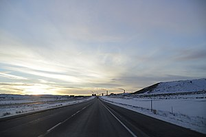 Interstate 90 in Wyoming - I-90 westbound between Rozet and Wyodak.