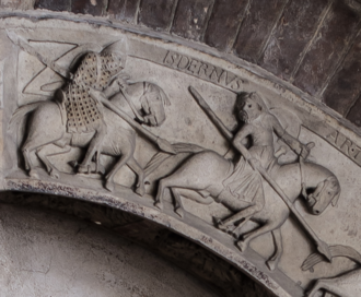 Edern ap Nudd - The Arthurian knight Isdernus (Yder) as depicted on the archivolt of Modena Cathedral (1120-40).