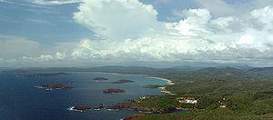 Chamela - Aerial view of Island Bay, looking northward.