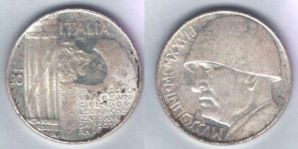 Italia 20 lire argento Mussolini