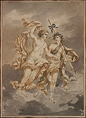 Bacchus and Ariadne dancing in the clouds