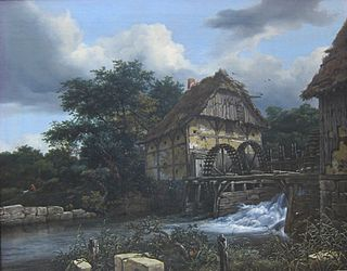 <i>Two Water Mills with an Open Sluice</i> painting by Jacob van Ruisdael