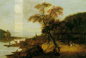 Jacob van der Does - Landscape along a river with horsemen.