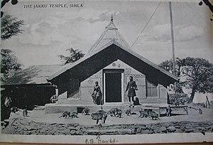 Jakhoo - A 1912 postcard showing the Jakhu Temple and monkeys