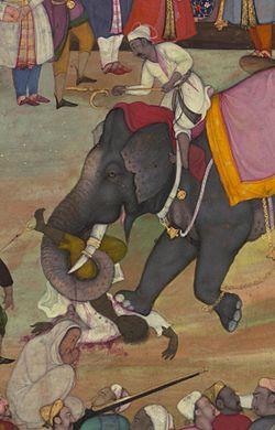 Jamal al-Din Husayn Inju Shirazi - Two Folios from the Akbarnama - Walters W684 - Detail A.jpg