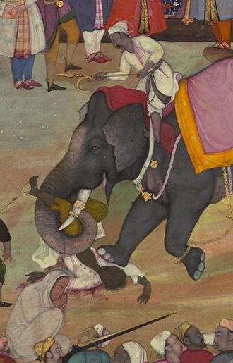 Execution by elephant - Illustration from the Akbarnama, the official chronicle of the reign of Akbar, the third Mughal emperor