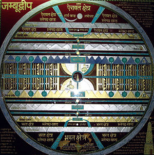 Jambudvipa -  Image depicting map of Jambudvipa as per Jain Cosmology