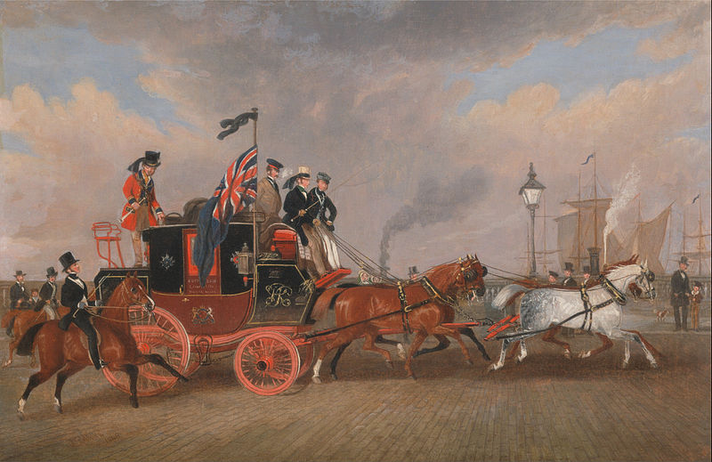 The last of the mail coaches at Newcastle upon Tyne, 1848.