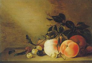 Jan Matham - Still life with peaches by Jan Matham