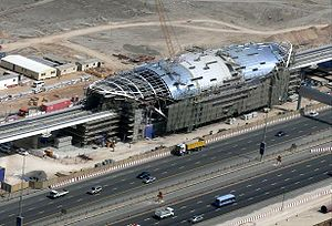 Dubai Metro - Jebel Ali station (now UAE Exchange) under construction in May 2008