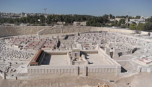 Temple Mount - The Holyland Model of Jerusalem in the late Second Temple period. The large flat expanse was a base for Herod's Temple, in the center. The view is from outside the Eastern Wall of the Temple Mount.
