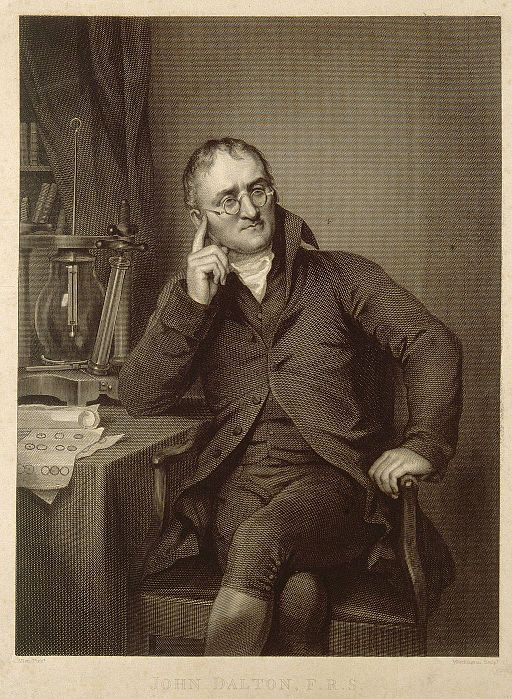 John Dalton. Line engraving by W. H. Worthington, 1823, afte Wellcome V0006489