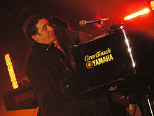 Jools Holland at the Tsunami Relief concert in Cardiff's Millennium Stadium, January 22nd 2005