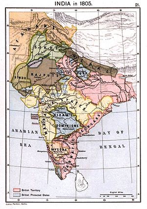 Daulat Rao Sindhia - Maratha Empire in 1805 (yellow)