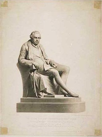 Henry Corbould - Drawing of a statue of Sir Joseph Banks, sculpted by Francis Leggatt Chantrey; the engraving was by Samuel Cousins.