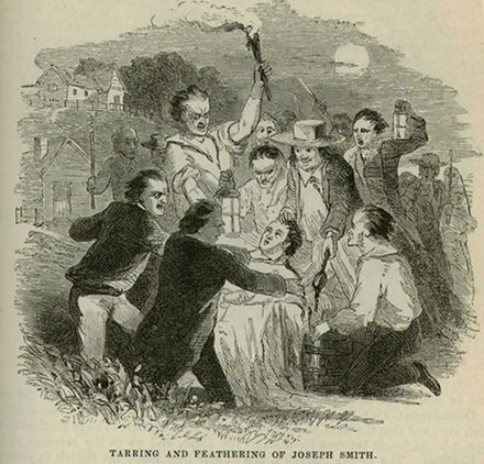 A mob tarred and feathered Smith in 1832. Josephsmithtarandfeatherharpers.jpg