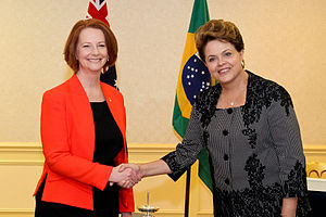 Australia–Brazil relations - Prime Minister Julia Gillard of Australia with President Dilma Rousseff of Brazil in November 2011