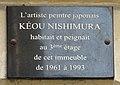Kéou Nishimura plaque - 15 rue des Grands Augustins, Paris 6th arr (26322060104).jpg
