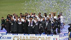 Suwon Samsung Bluewings - Suwon Samsung Bluewings players celebrating after winning the 2008 K League.