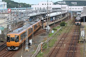 Toba Line - 22000 series train on Limited Express leaving Toba Station