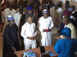 Governor of Kaduna State, Nasir El-Rufai and Governor of Plateau State, Simon Lalong sign the Kafanchan Peace Declaration as official observers