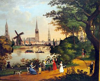 Außenalster - The picture clock with Alster panorama (c.1830) in the Hamburg Museum depicts the Außenalster with the then-wooden Lombardsbrücke and one of the last remaining windmills on the Wallring