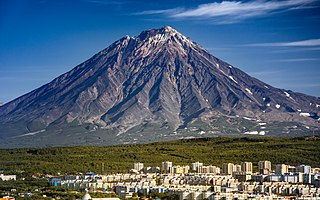Active volcano located on the peninsula of Kamchatka in Russia