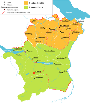 Canton of Linth - Cantons of Säntis (orange) and Linth (green)