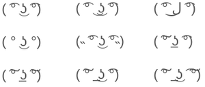 Emoticon - Example of kaomoji smileys