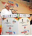 Kapil Sibal addressing at the curtain raiser ceremony of International Exhibition and Conference – 'India Telecom 2011-m-powering India' organized by DOT and FICCI.jpg