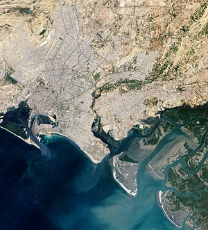Indus River Delta - Karachi (centred in the image) is located along the western edge of the Indus River Delta (bottom-right).