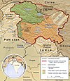 Map of Pakistan with ماورائے قراقرم علاقہTrans-Karakoram Tract highlighted