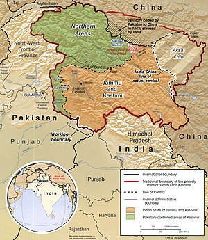 Sino-Indian War - Traditional borders of Jammu and Kashmir (CIA map). The northern boundary is along the Karakash valley. Aksai Chin is the shaded region in the east.