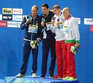Nicholas Santos - Santos (left) wins silver in Kazan 2015